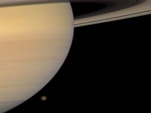 Saturn and Titan, taken by Cassini