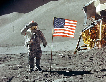 Buzz Aldrin salutes the American Flag, 7/20/69