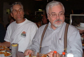 Author David Drake (left) with the late Jim Baen, publisher of the RCN novels