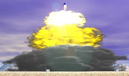 A rendering of an Orion test launch from The Unmuseum - The Orion Project